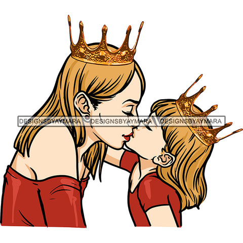 Happy Mother's Day Pretty Crowned Mom Kissing Daughter Parenthood True Love SVG JPG PNG Vector Clipart Cricut Silhouette Cut Cutting