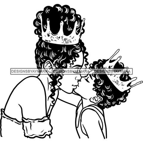Happy Mother's Day Pretty Crowned Mom Kissing Son Parenthood True Love B/W SVG JPG PNG Vector Clipart Cricut Silhouette Cut Cutting