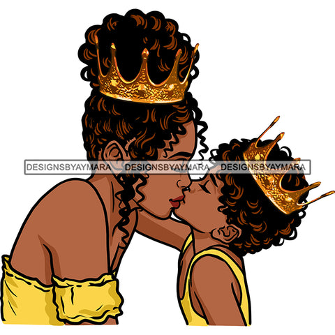Happy Mother's Day Pretty Crowned Mom Kissing Son Parenthood True Love SVG JPG PNG Vector Clipart Cricut Silhouette Cut Cutting