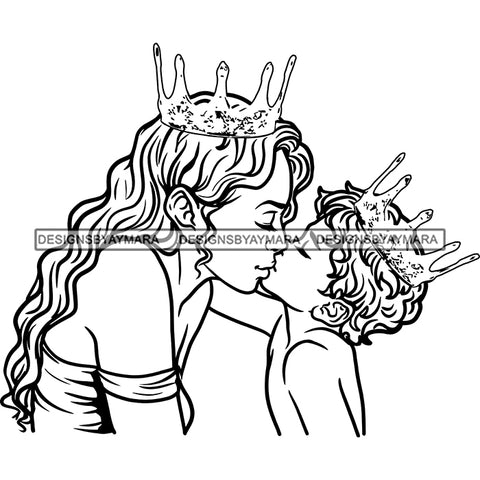 Happy Mother's Day Pretty Crowned Mom Kissing Son Parenthood Family True Love B/W SVG JPG PNG Vector Clipart Cricut Silhouette Cut Cutting