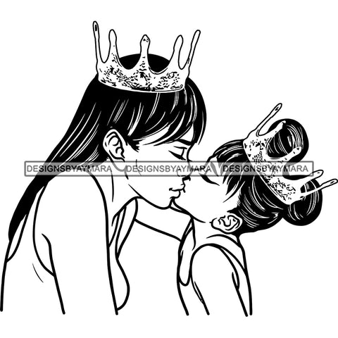 Happy Mother's Day Pretty Crowned Mom Kissing Crowned Daughter Happy Family B/W SVG JPG PNG Vector Clipart Cricut Silhouette Cut Cutting
