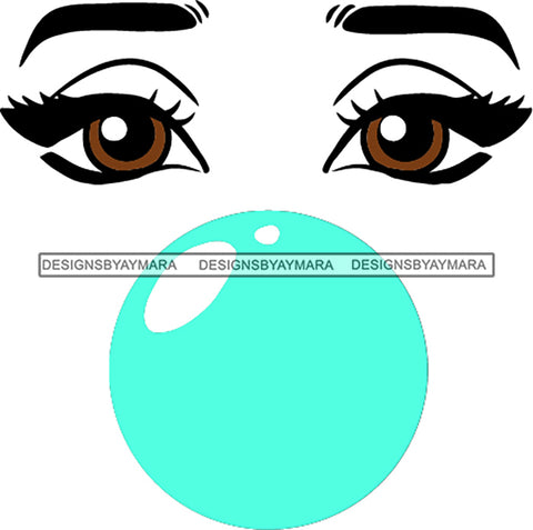Afro Black Woman Face Outline Bubble Gum Brown Eyes SVG Cutting Files For Silhouette Cricut More