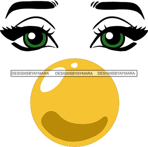 Afro Black Woman Face Outline Bubble Gum Green Eyes SVG Cutting Files For Silhouette Cricut More
