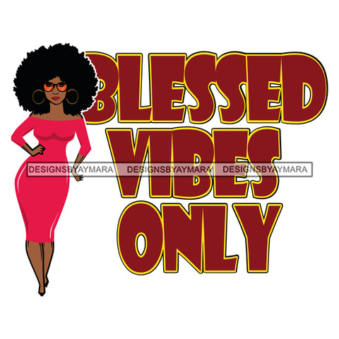 Afro Beautiful Woman Fashion Model Life Quotes Blessed Vibes Sunglasses Afro Hair Style SVG Cutting Files Silhouette Cricut More