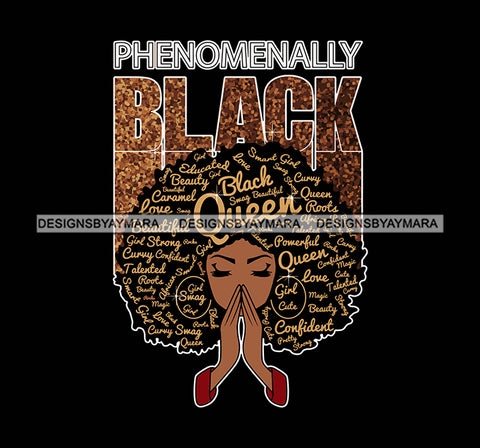 Afro Woman Praying Phenomenally Black  SVG Layered Files For Silhouette Cricut And More!