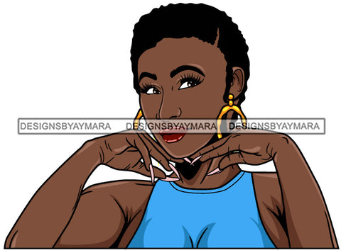 Afro Girl Babe Hoop Earrings Cute Long Nails Short Hair Style SVG Cutting Files For Silhouette Cricut