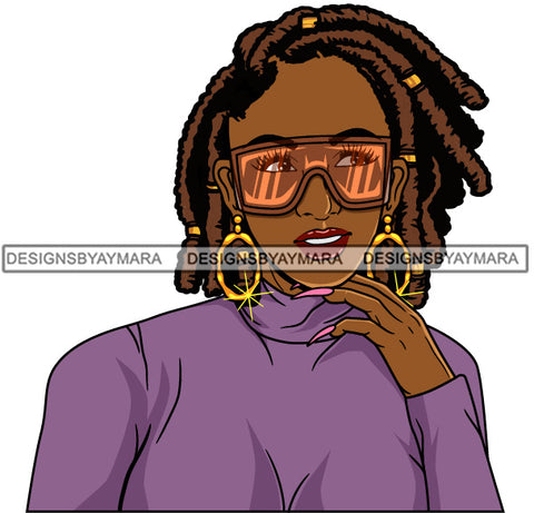 Afro Girl Babe Hoop Earrings Cute Sunglasses Long Nails Dreadlocks Hair Style SVG Cutting Files For Silhouette Cricut