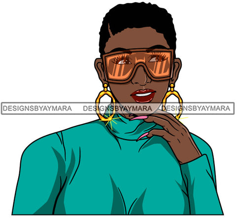 Afro Girl Babe Hoop Earrings Cute Sunglasses Long Nails Short Hair Style SVG Cutting Files For Silhouette Cricut