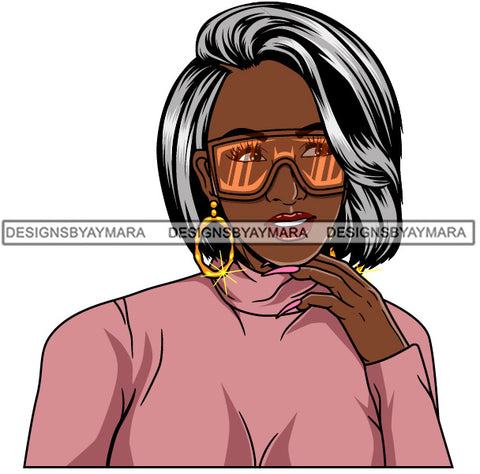 Afro Girl Babe Hoop Earrings Cute Sunglasses Long Nails Straight Grey Hair Style SVG Cutting Files For Silhouette Cricut