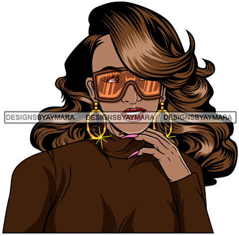 Afro Girl Babe Hoop Earrings Cute Sunglasses Long Nails Wavy Hair Style SVG Cutting Files For Silhouette Cricut