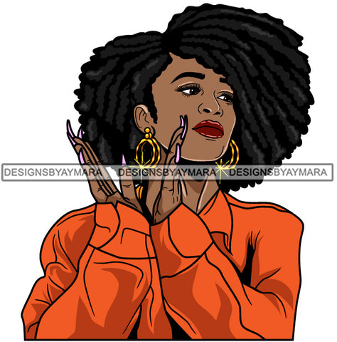 Afro Girl Babe Hoop Earrings Sexy Long Nails Clapping Afro Hair Style SVG Cutting Files For Silhouette Cricut
