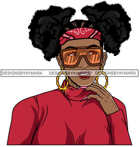 Afro Girl Babe Hoop Earrings Cute Sunglasses Long Nails Pigtails Hair Style SVG Cutting Files For Silhouette Cricut