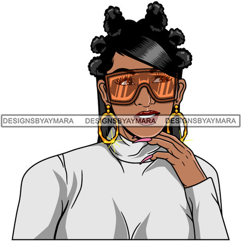 Afro Girl Babe Hoop Earrings Cute Sunglasses Long Nails Bantu Knots Hair Style SVG Cutting Files For Silhouette Cricut