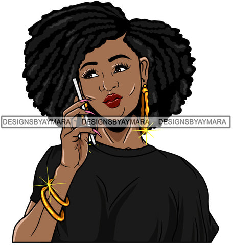 Afro Girl Babe Bamboo Hoop Earrings Cute Cellphone Talking  Long Nails Afro Hair Style SVG Cutting Files For Silhouette Cricut