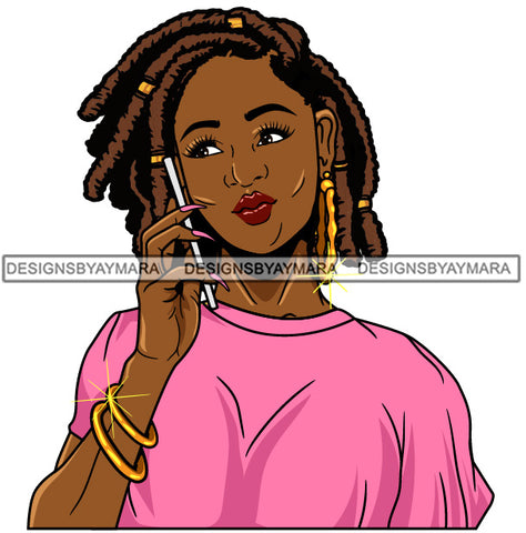 Afro Girl Babe Bamboo Hoop Earrings Cute Cellphone Talking  Long Nails Dreadlocks Hair Style SVG Cutting Files For Silhouette Cricut