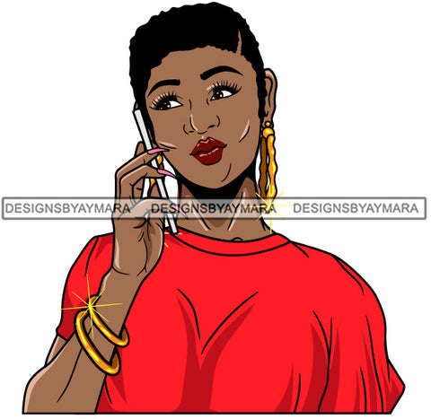 Afro Girl Babe Bamboo Hoop Earrings Cute Cellphone Talking Long Nails Short Hair Style SVG Cutting Files For Silhouette Cricut