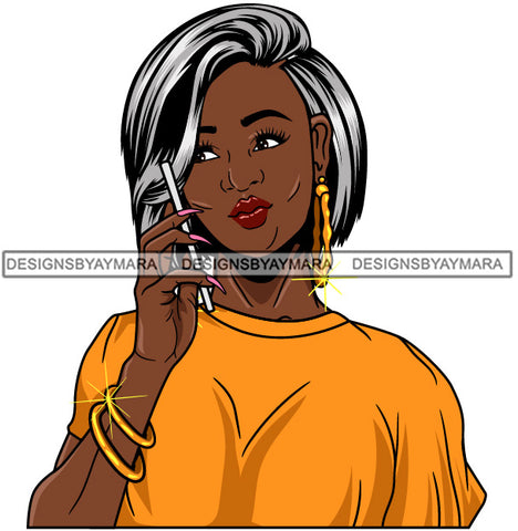 Afro Girl Babe Bamboo Hoop Earrings Cute Cellphone Talking Long Nails Straight Grey Hair Style SVG Cutting Files For Silhouette Cricut