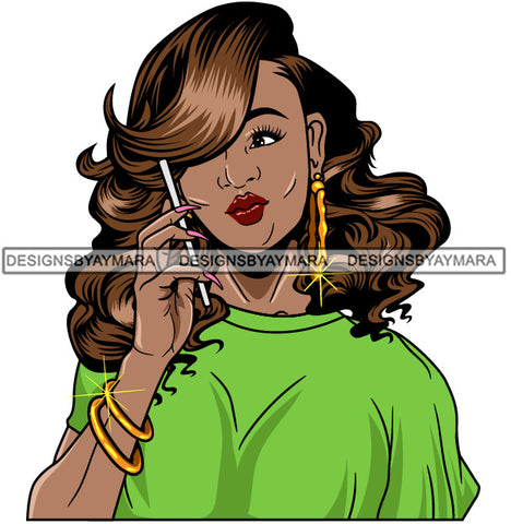 Afro Girl Babe Bamboo Hoop Earrings Cute Cellphone Talking Long Nails Wavy Hair Style SVG Cutting Files For Silhouette Cricut