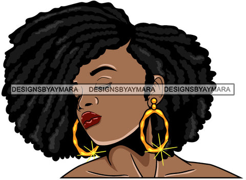 Afro Girl Babe Bamboo Hoop Earrings Sexy Profile Afro Hair Style SVG Cutting Files For Silhouette Cricut