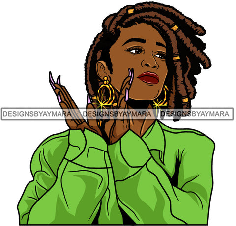 Afro Girl Babe Hoop Earrings Sexy Long Nails Clapping Dreadlocks Hair Style SVG Cutting Files For Silhouette Cricut