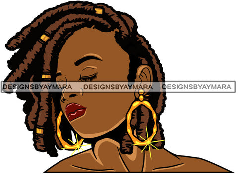 Afro Girl Babe Bamboo Hoop Earrings Sexy Profile Dreadlocks Hair Style SVG Cutting Files For Silhouette Cricut