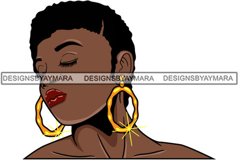 Afro Girl Babe Bamboo Hoop Earrings Sexy Profile Short Hair Style SVG Cutting Files For Silhouette Cricut