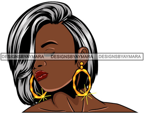 Afro Girl Babe Bamboo Hoop Earrings Sexy Profile Straight Gray Hair Style SVG Cutting Files For Silhouette Cricut