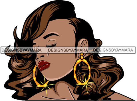 Afro Girl Babe Bamboo Hoop Earrings Sexy Profile Wavy Hair Style SVG Cutting Files For Silhouette Cricut
