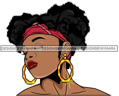 Afro Girl Babe Bamboo Hoop Earrings Sexy Profile Pigtails Hair Style SVG Cutting Files For Silhouette Cricut