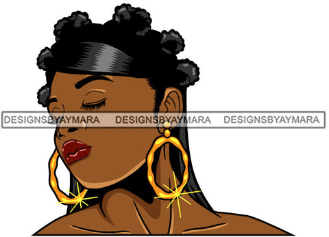 Afro Girl Babe Bamboo Hoop Earrings Sexy Profile Bantu Knots Hair Style SVG Cutting Files For Silhouette Cricut
