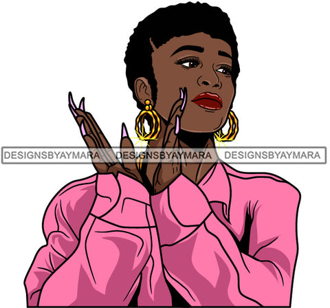 Afro Girl Babe Hoop Earrings Sexy Long Nails Clapping Short Hair Style SVG Cutting Files For Silhouette Cricut