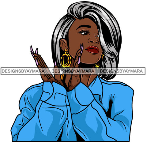 Afro Girl Babe Hoop Earrings Sexy Long Nails Clapping Grey Straight Hair Style SVG Cutting Files For Silhouette Cricut