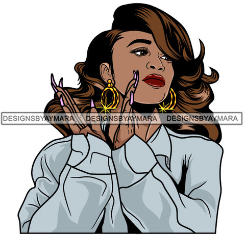 Afro Girl Babe Hoop Earrings Sexy Long Nails Clapping Wavy Hair Style SVG Cutting Files For Silhouette Cricut