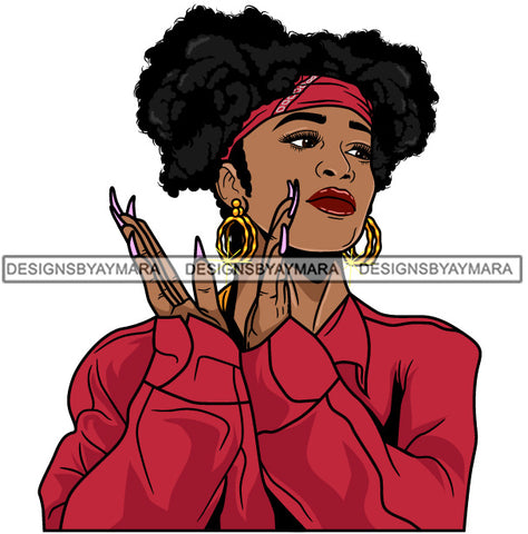 Afro Girl Babe Hoop Earrings Sexy Long Nails Clapping Pigtails Hair Style SVG Cutting Files For Silhouette Cricut