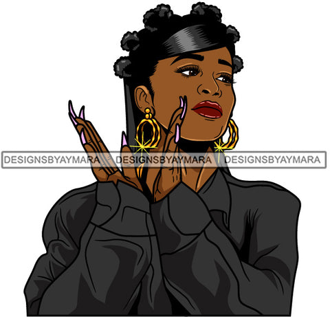 Afro Girl Babe Hoop Earrings Sexy Long Nails Clapping Banku Knots Hair Style SVG Cutting Files For Silhouette Cricut