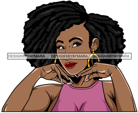 Afro Girl Babe Hoop Earrings Cute Long Nails Afro Hair Style SVG Cutting Files For Silhouette Cricut