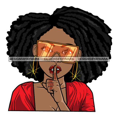 Black Goddess Lola Silence Be Quiet Glamour Fashion Sunglasses Bamboo Hoop Earrings Sexy Attractive Portrait Fashion Woman Afro Hair Style SVG Cutting Files For Silhouette  Cricut