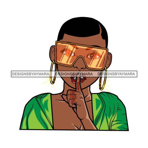 Black Goddess Lola Silence Be Quiet Glamour Fashion Sunglasses Bamboo Hoop Earrings Sexy Attractive Portrait Fashion Woman Short Hair Style SVG Cutting Files For Silhouette  Cricut