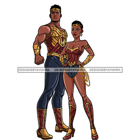 Black Super Couple Hero Afro Clipart JPG PNG  Clipart Cricut Silhouette Cut Cutting