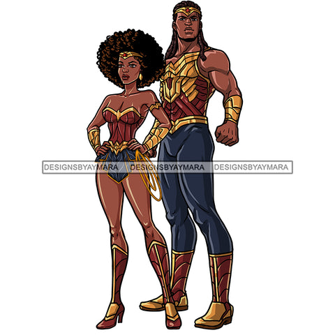 Black Super Couple Hero Afro Man Locs Clipart JPG PNG  Clipart Cricut Silhouette Cut Cutting