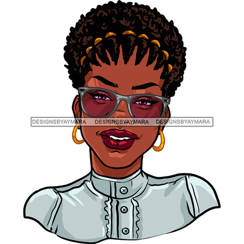 Black Woman Afro In Gray Top Silver Gray Glasses Smiling JPG PNG  Clipart Cricut Silhouette Cut Cutting