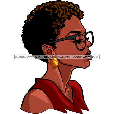 Black Woman Afro In Burgundy Top Dark Gray Glasses  JPG PNG  Clipart Cricut Silhouette Cut Cutting