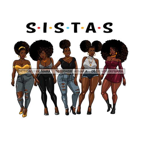 5 Sexy Plus Size Black Women Sistas  JPG PNG  Clipart Cricut Silhouette Cut Cutting