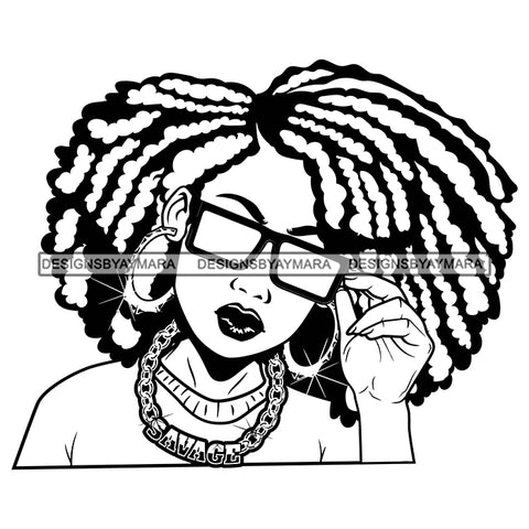 Afro Attractive Cute Urban Girl Savage Gold Chain Sunglasses Bamboo Hoop Earrings Afro Hairstyle B/W SVG Cutting Files For Silhouette Cricut