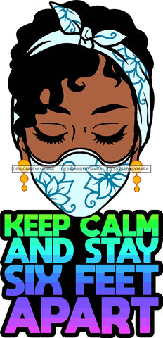 Afro Black Goddess Social Distance Quotes Virus Protection Portrait Bamboo Earrings Bandana Face Mask Sexy Woman Curly Hair Style  SVG Cutting Files For Silhouette  Cricut