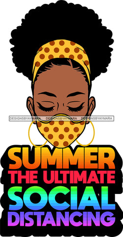 Afro Black Goddess Social Distance Quotes Virus Protection Portrait Bamboo Earrings Bandana Face Mask Sexy Woman Curly Up Do Hair Style  SVG Cutting Files For Silhouette  Cricut