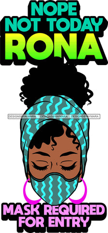 Afro Black Goddess Social Distance Quotes Virus Protection Portrait Bamboo Earrings Bandana Face Mask Sexy Woman Up Do Hair Style  SVG Cutting Files For Silhouette  Cricut