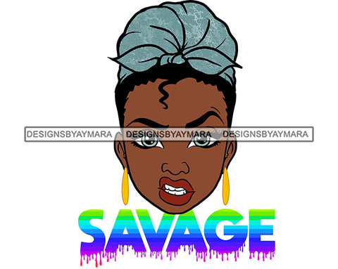 Afro Woman Savage Bamboo Hoop Earrings Attitude Facial Expression Turban Nubian Melanin Curly Hair Style SVG Cutting Files For Silhouette Cricut More