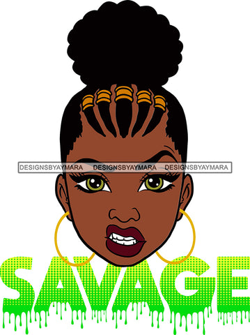 Afro Woman Savage Bamboo Hoop Earrings Attitude Facial Expression Nubian Melanin Cornrows Up Do Hair Style SVG Cutting Files For Silhouette Cricut More