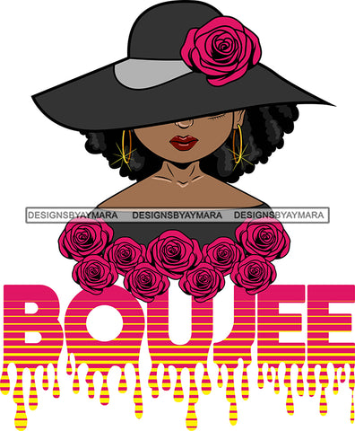 Afro Woman Elegant Wearing Hat Classy Boujee Hip Hop Life Style Flowers Black Girl Magic Hipster Girl Afro Hair Style SVG Cutting Files For Silhouette Cricut More